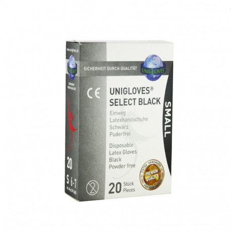 Unigloves - Select Black - Černé latexové rukavice S (20 ks)