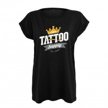Women's T-shirt with E. T. S. Logo Black - XS