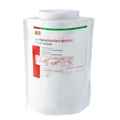 L+R - Alcohol impregnated maxi wipes (38x 20 cm) 110 pcs